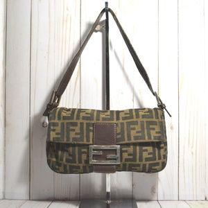 Authentic Fendi Zucca Pattern Mamma Baguette Bag
